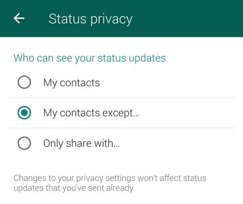 Whatsapp privacy status updates