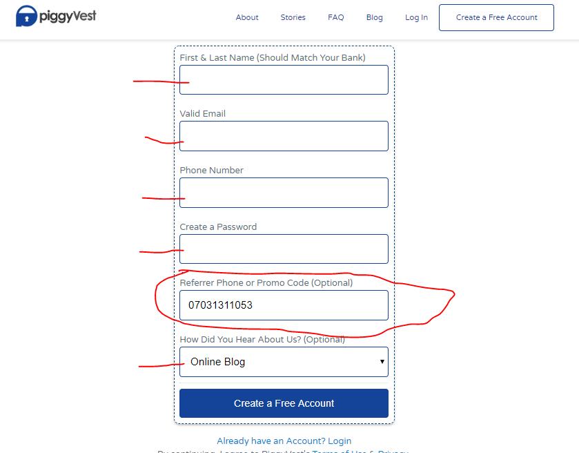 piggyvest registration screen; grow savings with piggyvest by bodawale.com