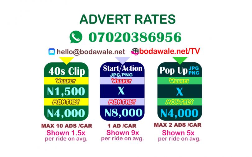 BodaWaleTV advert rates